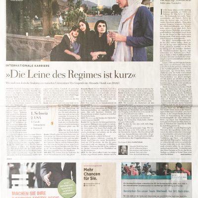 """Ein Foto aus dem Buch """"Among Women"""" wurde für die Zeitung """"Die Zeit"""" verwendet. Der Artikel ist einen Interview über die Hochschullandschaft im Iran."""