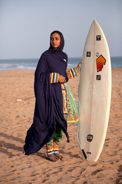 "Shahla is among the first women in Iran to get on a surfboard and surf the Gulf of Oman's waves on Chabahar's beaches. She says: ""As women, if you want to surf in Chabahar - where men are in charge and women have a low presence in society - you are often looked at very strangely and encounter unacceptance and shaking of heads. People often put obstacles in your way, too. It's a very unusual image in Chabahar to see a woman running towards the open sea with her surfboard under her arm."""